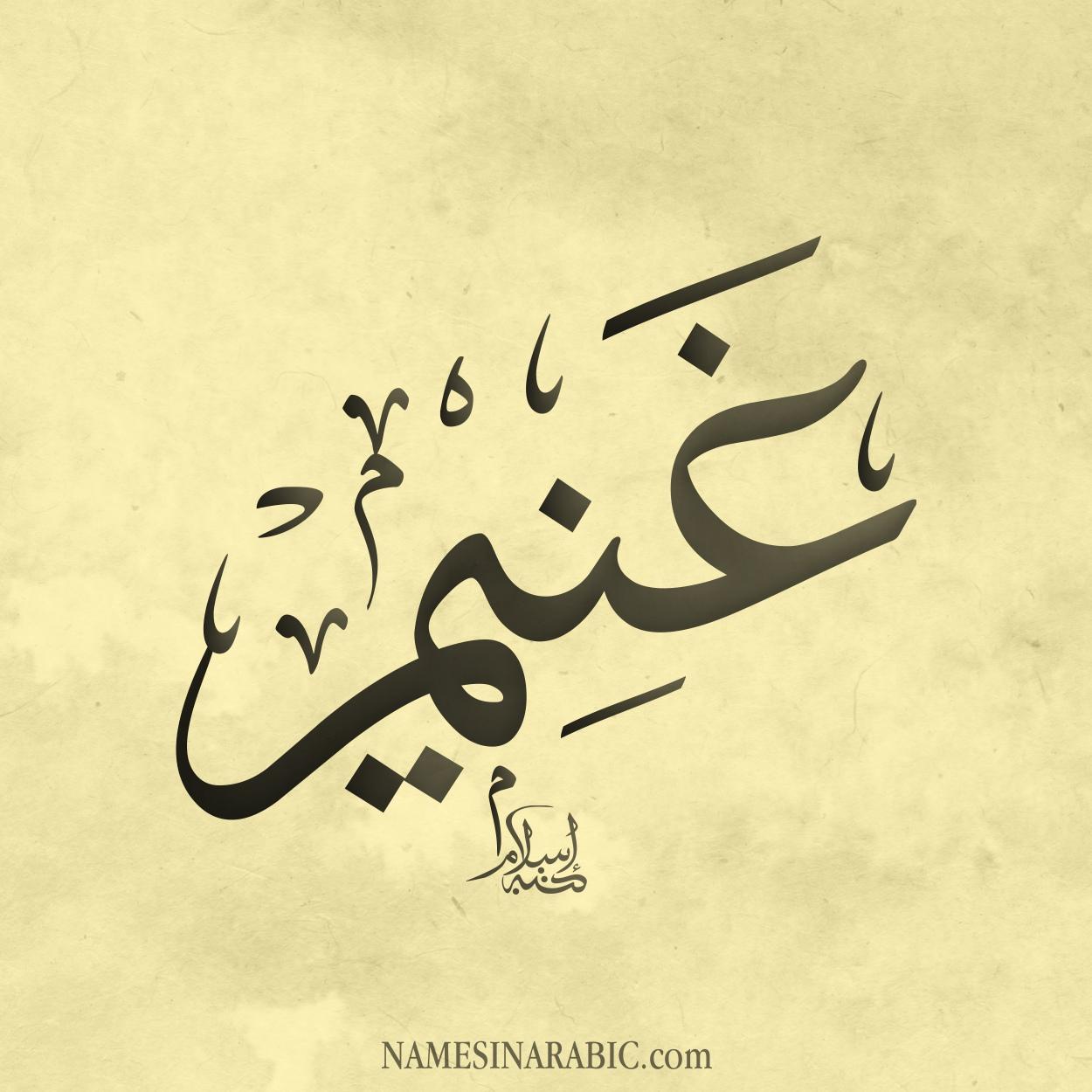 صورة اسم غُنَيم GHONAIM اسم غُنَيم بالخط العربي من موقع الأسماء بالخط العربي بريشة الفنان إسلام ابن الفضل
