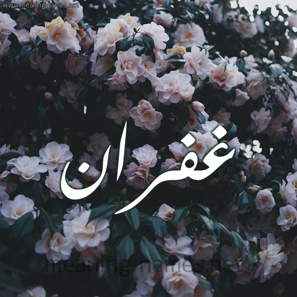 صورة اسم غُفْران Ghofran شكل 11 صوره ورود فل وياسمين للإسم بخط رقعة