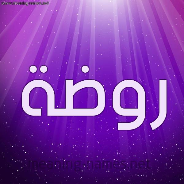شكل 13 الإسم على خلفية باللون البنفسج والاضاءة والنجوم صورة اسم روضة Rowda