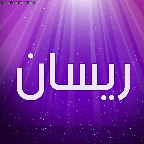 شكل 13 الإسم على خلفية باللون البنفسج والاضاءة والنجوم صورة اسم ريسان Risan