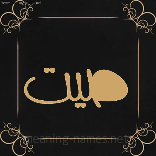 شكل 14 الإسم على خلفية سوداء واطار برواز ذهبي  صورة اسم صيت Syt