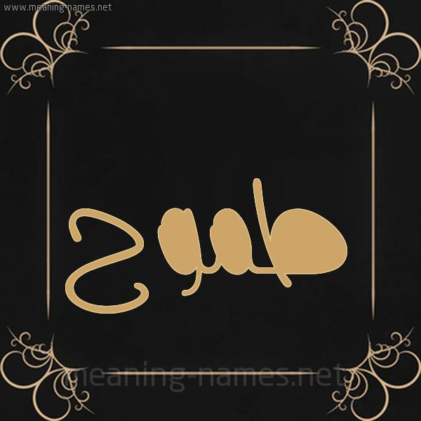 صورة اسم طموح Tmwh شكل 14 الإسم على خلفية سوداء واطار برواز ذهبي