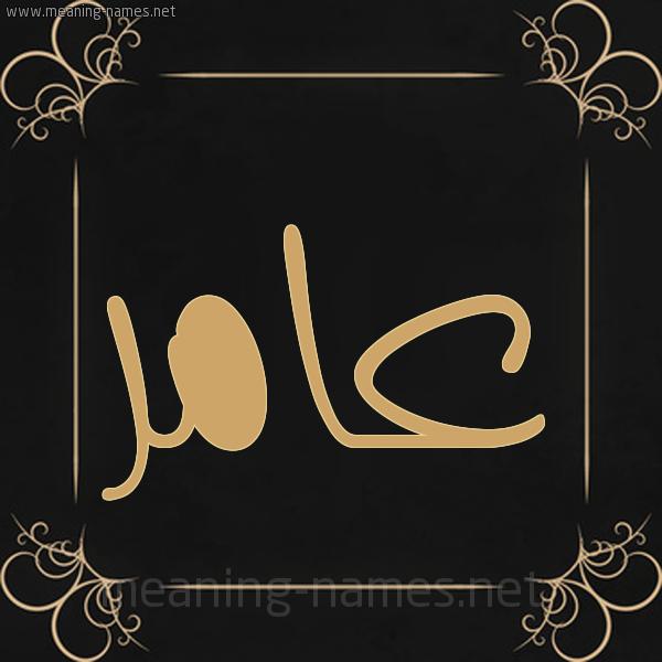 صورة اسم عامر Amer شكل 14 الإسم على خلفية سوداء واطار برواز ذهبي
