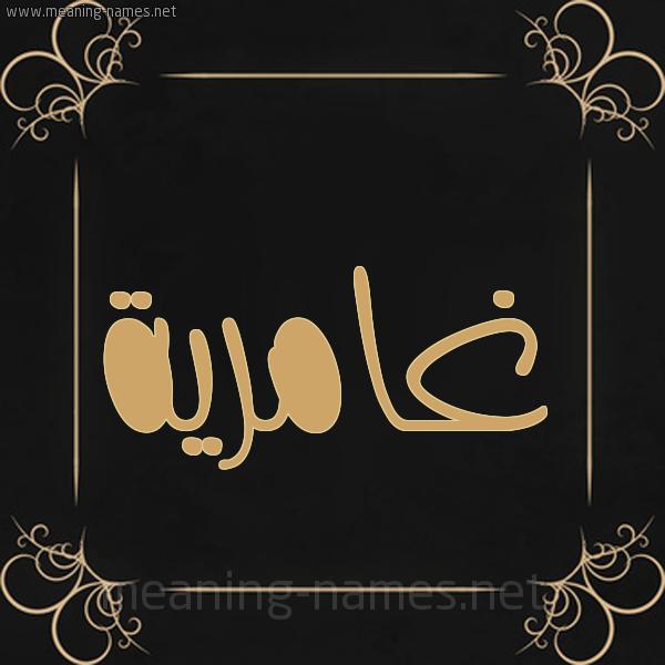 شكل 14 الإسم على خلفية سوداء واطار برواز ذهبي  صورة اسم غامرية Ghamryh
