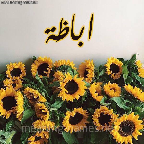 صورة اسم اباظَة ABAZAH شكل 17 صوره دوار الشمس للإسم بخط رقعة