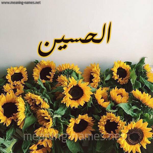 صورة اسم الحسين Alhussain شكل 17 صوره دوار الشمس للإسم بخط رقعة