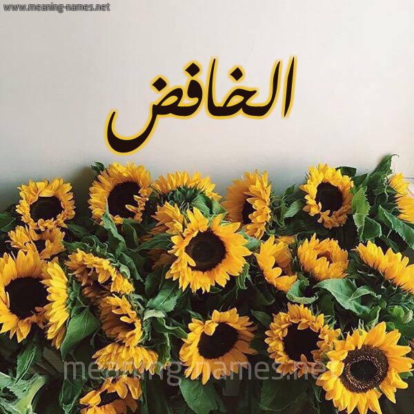 صورة اسم الخافض ALKHAFED شكل 17 صوره دوار الشمس للإسم بخط رقعة