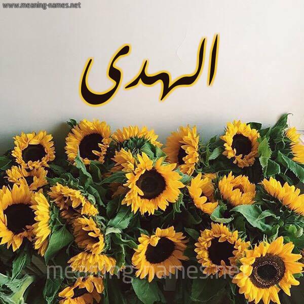 صورة اسم الهدى Al Huda شكل 17 صوره دوار الشمس للإسم بخط رقعة