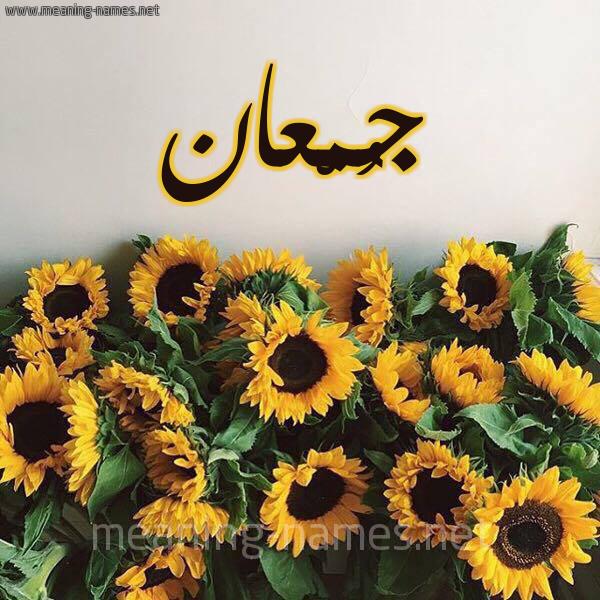 صورة اسم جُمْعان GOMAAN شكل 17 صوره دوار الشمس للإسم بخط رقعة