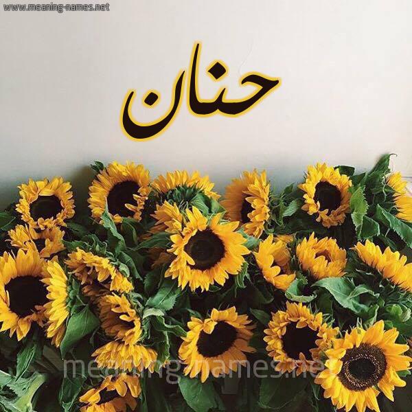 صورة اسم حنان Hnan شكل 17 صوره دوار الشمس للإسم بخط رقعة