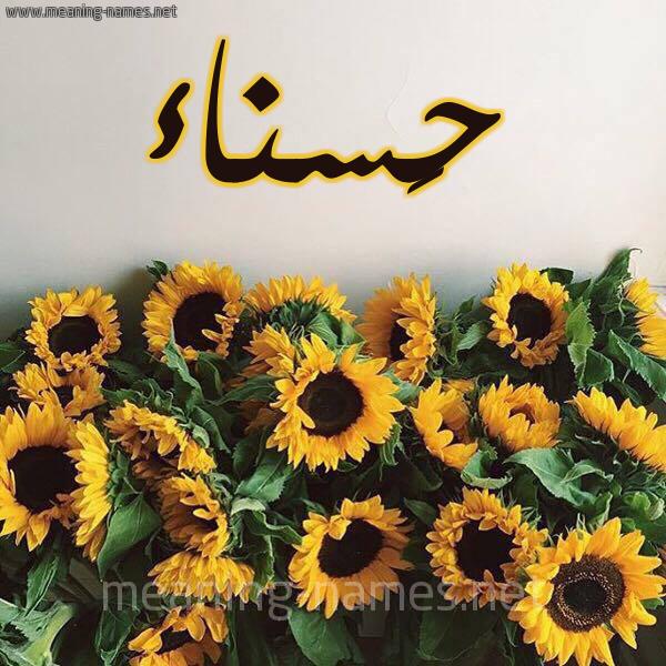 صورة اسم حَسناء Hasnaa شكل 17 صوره دوار الشمس للإسم بخط رقعة