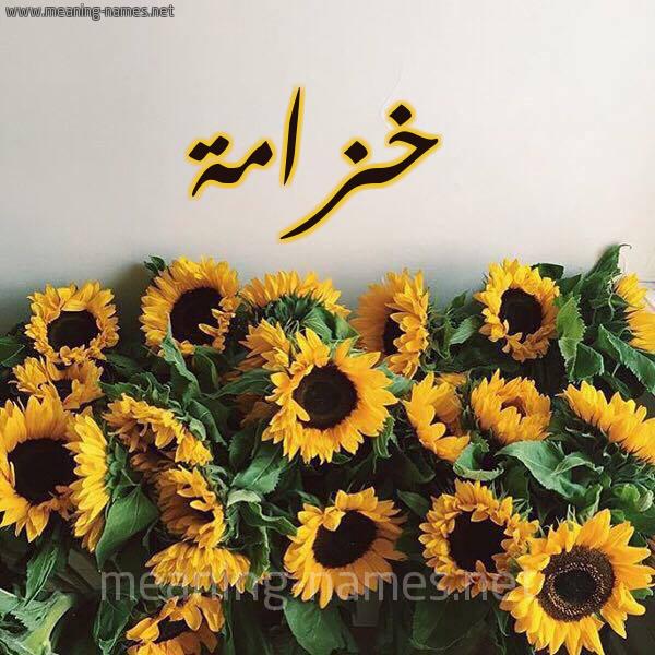 صورة اسم خزامة khozamaa شكل 17 صوره دوار الشمس للإسم بخط رقعة