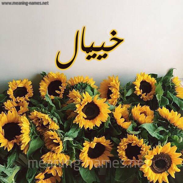 صورة اسم خييّال Khayal شكل 17 صوره دوار الشمس للإسم بخط رقعة