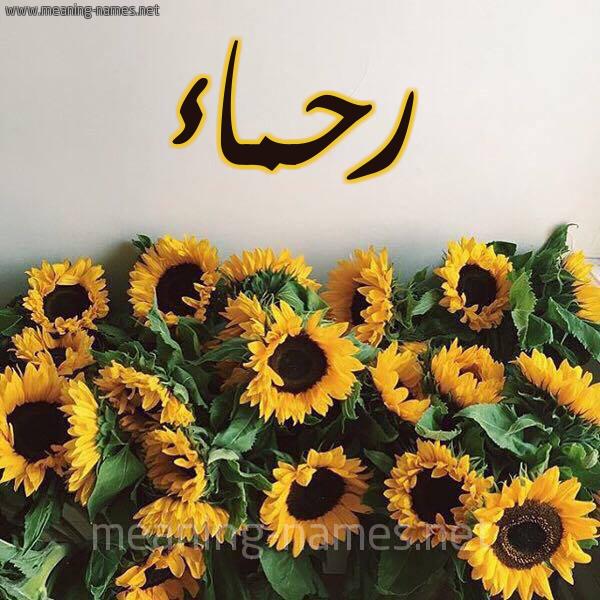 صورة اسم رحماء RHMAA شكل 17 صوره دوار الشمس للإسم بخط رقعة