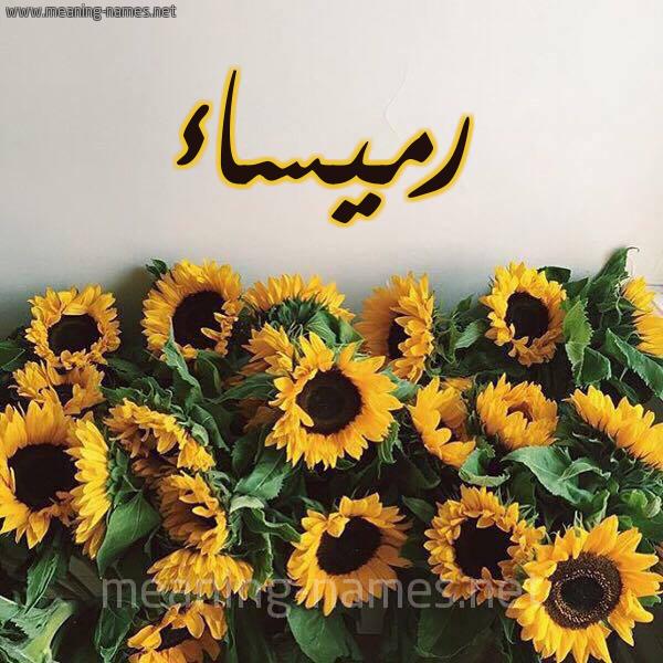 صورة اسم رميساء Rmysaa شكل 17 صوره دوار الشمس للإسم بخط رقعة