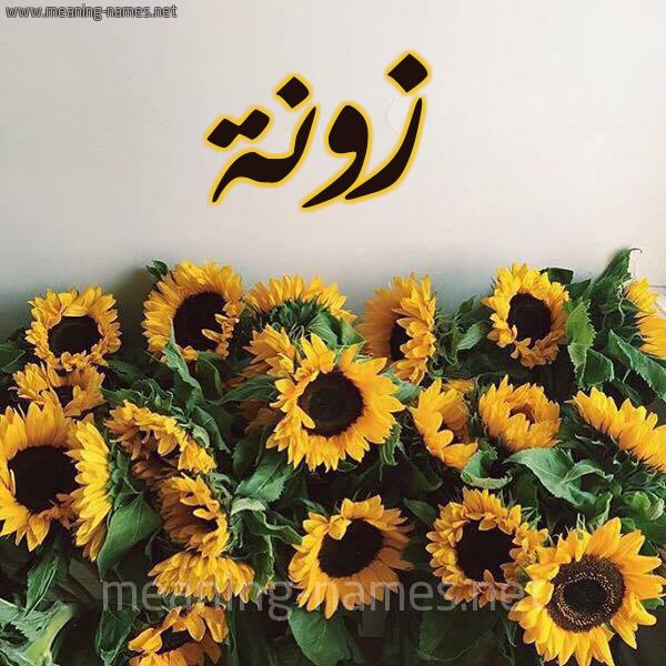 صورة اسم زونة Zwnh شكل 17 صوره دوار الشمس للإسم بخط رقعة