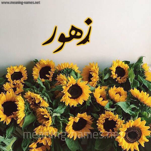 صورة اسم زُهور Zohor شكل 17 صوره دوار الشمس للإسم بخط رقعة