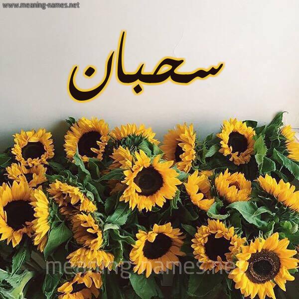 صورة اسم سحبان Sahban شكل 17 صوره دوار الشمس للإسم بخط رقعة