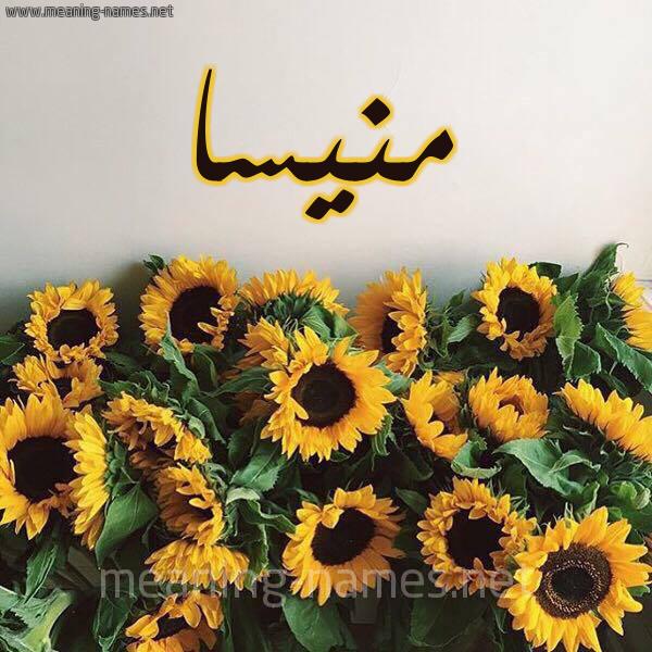 صورة اسم منيسا mnissa شكل 17 صوره دوار الشمس للإسم بخط رقعة