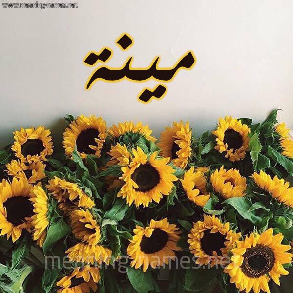 صورة اسم مينة MINA شكل 17 صوره دوار الشمس للإسم بخط رقعة