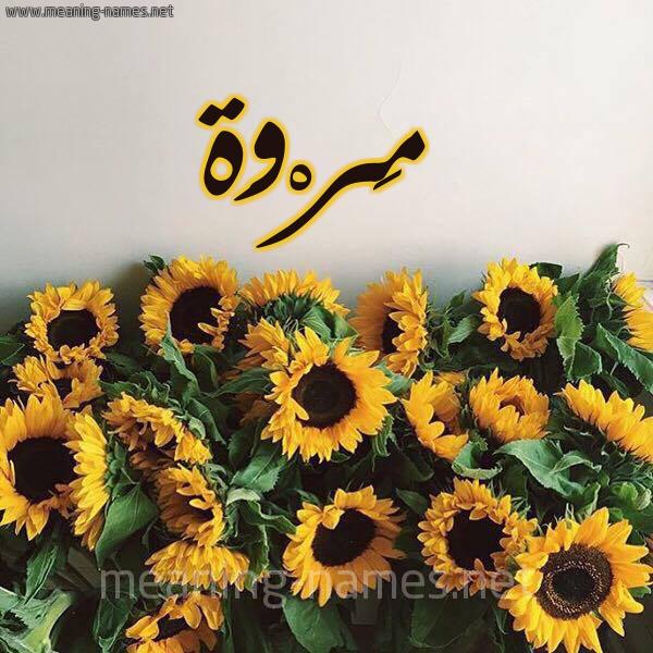صورة اسم مَرْوَة Marwa شكل 17 صوره دوار الشمس للإسم بخط رقعة