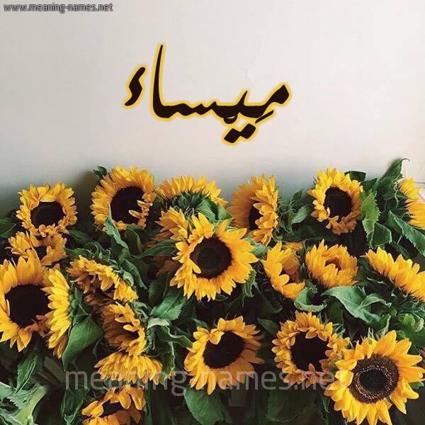 صورة اسم مَيْساء MAISAA شكل 17 صوره دوار الشمس للإسم بخط رقعة