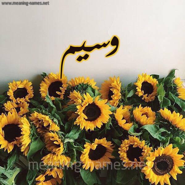 صورة اسم وسيم Wasem شكل 17 صوره دوار الشمس للإسم بخط رقعة