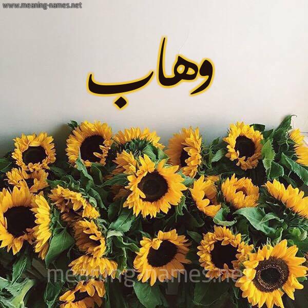 صورة اسم وهاب Whab شكل 17 صوره دوار الشمس للإسم بخط رقعة