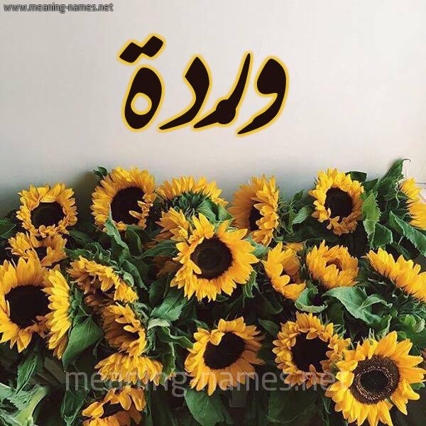 صورة اسم وَرْدة Warda شكل 17 صوره دوار الشمس للإسم بخط رقعة