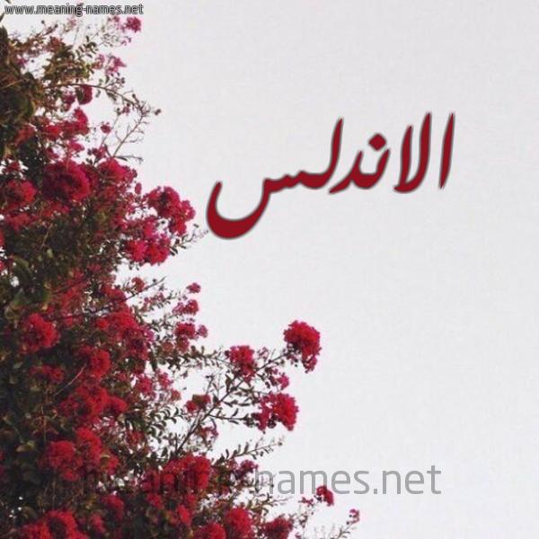 صورة اسم الاندلس ALANDLS شكل 18 صوره الورد الأحمر للإسم بخط رقعة