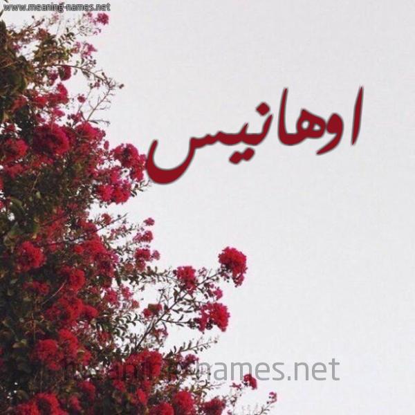 صورة اسم اوهانيس AOHANIS شكل 18 صوره الورد الأحمر للإسم بخط رقعة