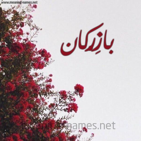 صورة اسم بازِرْكان BAZERKAN شكل 18 صوره الورد الأحمر للإسم بخط رقعة