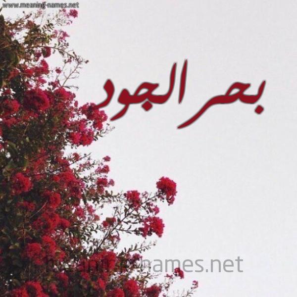 صورة اسم بحرالجود Bhraljwd شكل 18 صوره الورد الأحمر للإسم بخط رقعة