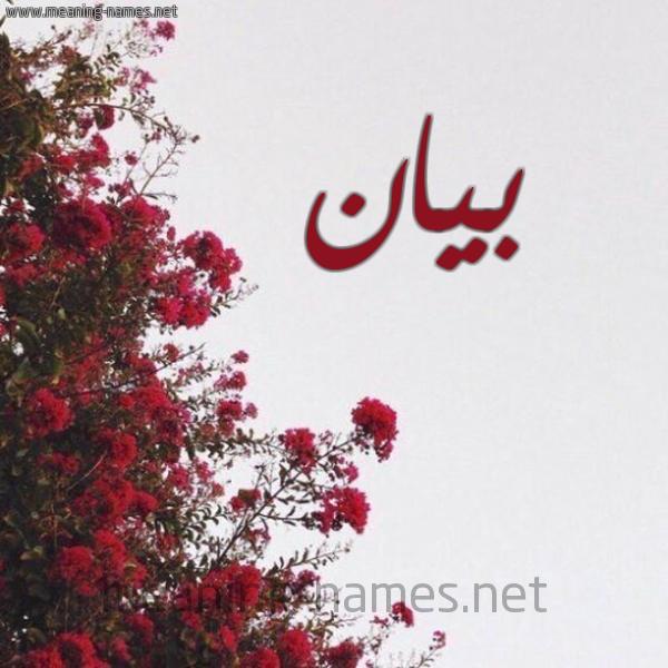 صورة اسم بيان Byan شكل 18 صوره الورد الأحمر للإسم بخط رقعة
