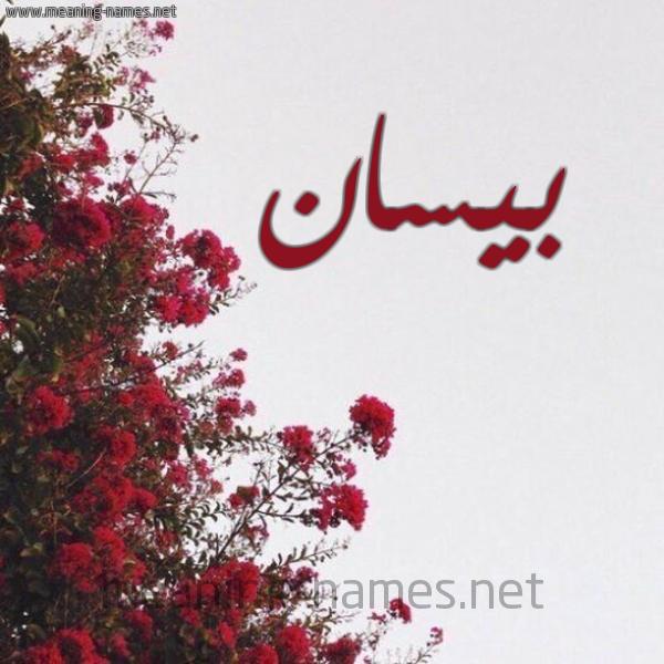 شكل 18 صوره الورد الأحمر للإسم بخط رقعة صورة اسم بيسان Besan