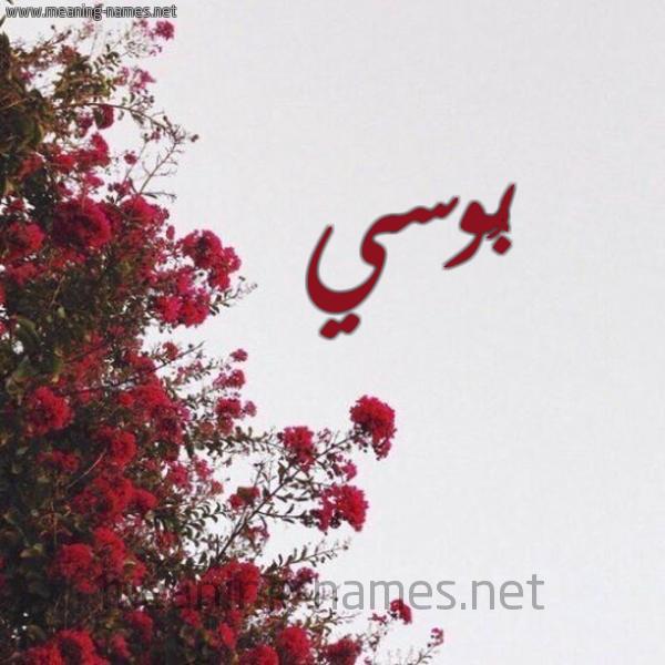 صورة اسم بُوسي BOOSI شكل 18 صوره الورد الأحمر للإسم بخط رقعة