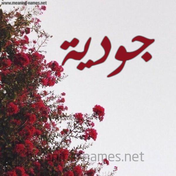 صورة اسم جودية Joudia شكل 18 صوره الورد الأحمر للإسم بخط رقعة
