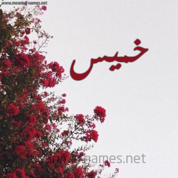 صورة اسم خميس Khmys شكل 18 صوره الورد الأحمر للإسم بخط رقعة