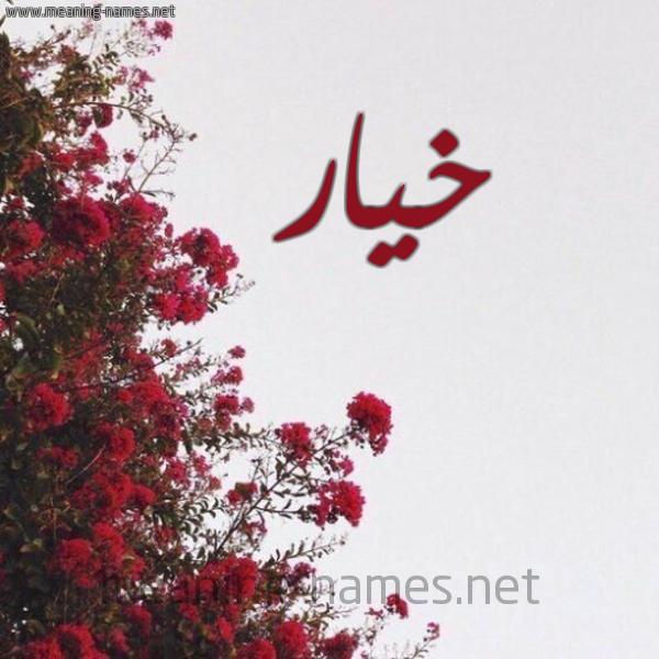 صورة اسم خيار KHIAR شكل 18 صوره الورد الأحمر للإسم بخط رقعة