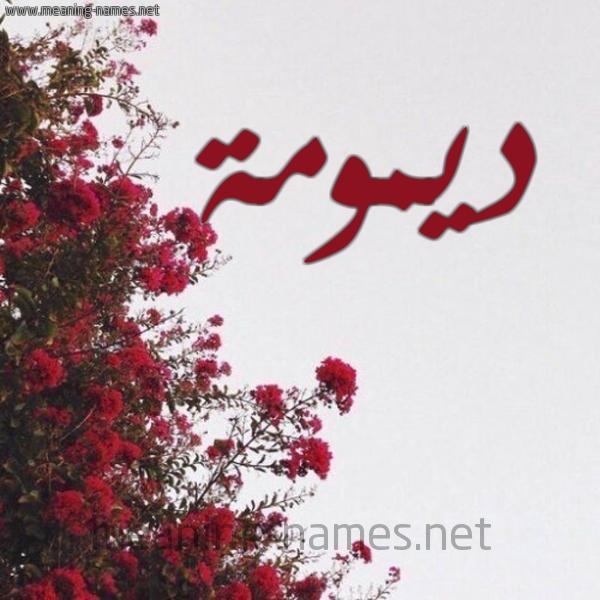 صورة اسم ديمومة Dymwmh شكل 18 صوره الورد الأحمر للإسم بخط رقعة