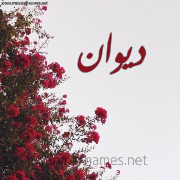 صورة اسم ديوان Dywan شكل 18 صوره الورد الأحمر للإسم بخط رقعة