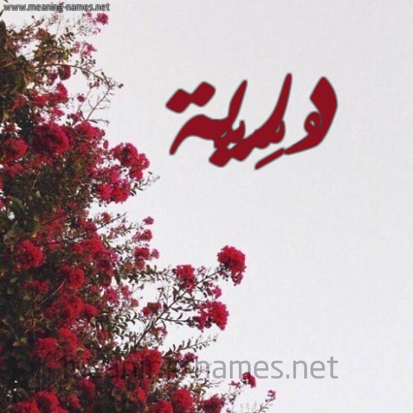 صورة اسم دُرِّيَّة DOREIAH شكل 18 صوره الورد الأحمر للإسم بخط رقعة