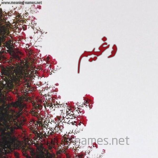 شكل 18 صوره الورد الأحمر للإسم بخط رقعة صورة اسم دُغَيم DOGHAIM
