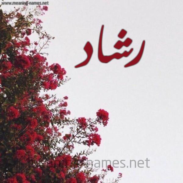 صورة اسم رشاد Rshad شكل 18 صوره الورد الأحمر للإسم بخط رقعة