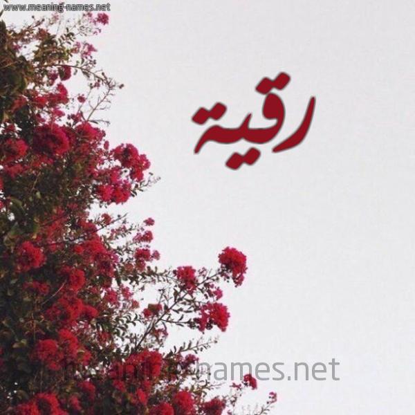 صورة اسم رقية Rokia شكل 18 صوره الورد الأحمر للإسم بخط رقعة