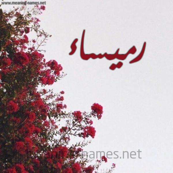 صورة اسم رميساء Rmysaa شكل 18 صوره الورد الأحمر للإسم بخط رقعة