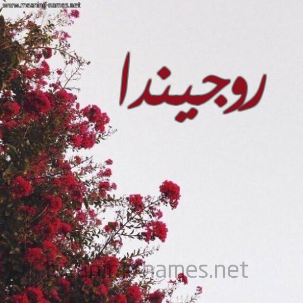 صورة اسم روجيندا Rogenda شكل 18 صوره الورد الأحمر للإسم بخط رقعة