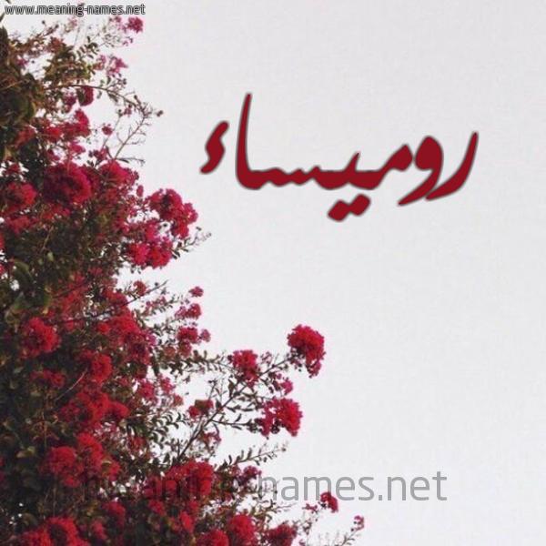 صورة اسم روميساء Romysa شكل 18 صوره الورد الأحمر للإسم بخط رقعة