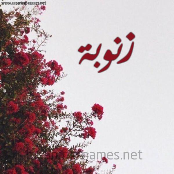 صورة اسم زنوبة ZNOBa شكل 18 صوره الورد الأحمر للإسم بخط رقعة
