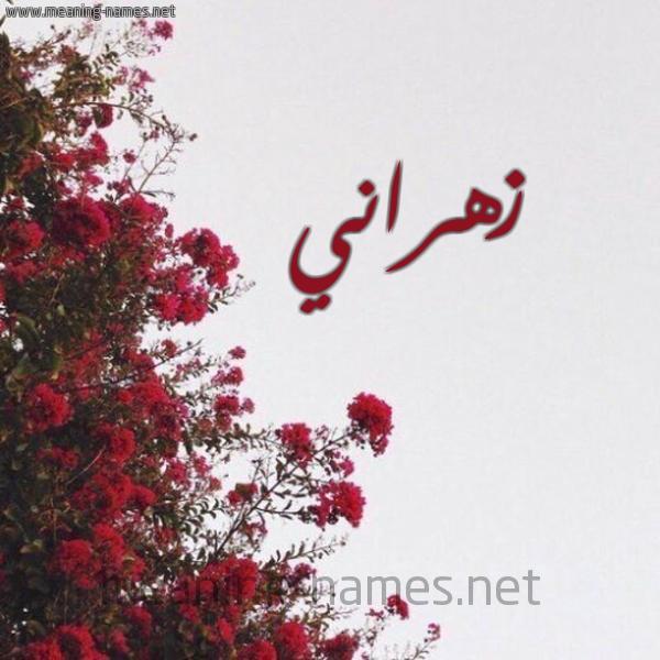 صورة اسم زهراني Zhrany شكل 18 صوره الورد الأحمر للإسم بخط رقعة